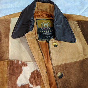 Express Jackets & Coats - Express Genuine Suede Leather Jacket Coat Sz XS